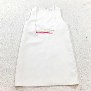 English factory white rainbow elastic stripe dress